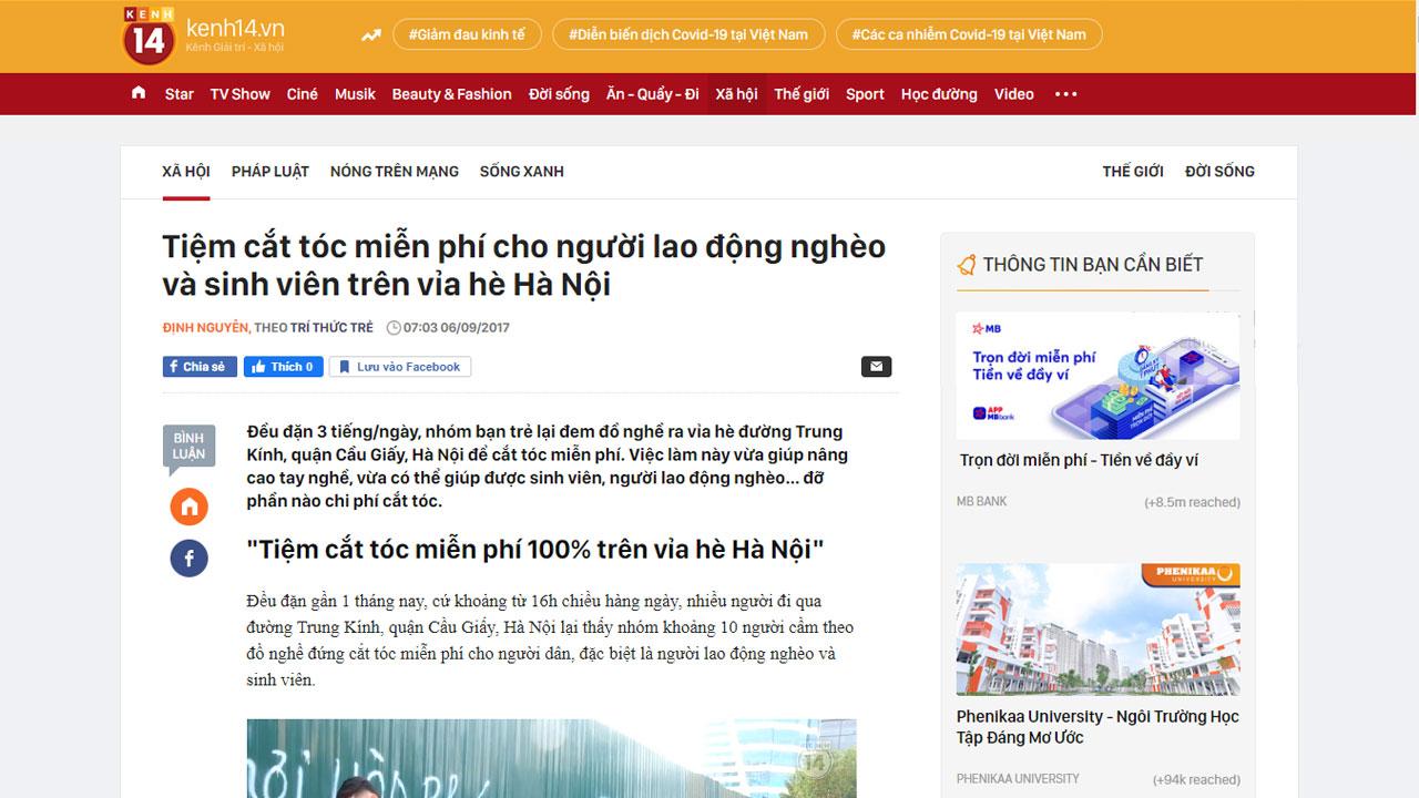 Kênh 14 đưa tin về Học viện Đào tạo tóc nam Phong BvB